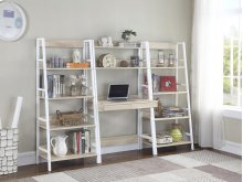 -BOOKCASE FINISHED IN NATURAL-METAL FRAME FINISHED IN WHITE-MATCHING DESK AVAILABLE (#801912)