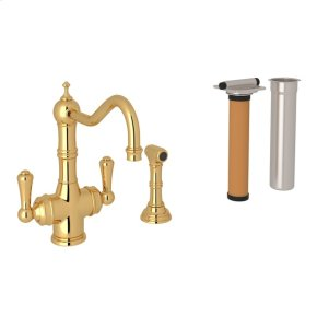 English Gold Perrin & Rowe Edwardian Filtration 2-Lever Kitchen Faucet With Sidespray with Traditional Metal Lever