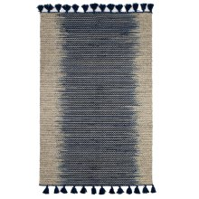 Natural & Staggered Indigo Stripe 5' x 8' Kilim Rug with Tassels.