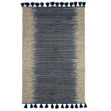 Natural & Staggered Indigo Stripe 5' x 8' Kilim Rug with Tassels.