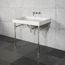 Ventus Bath Sink & Console Carrara Marble / 36in / Polished Nickel