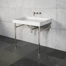 Ventus Bath Sink & Console Carrara Marble / 24in / Aged Brass