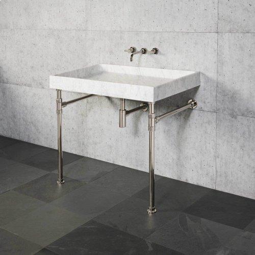 Ventus Bath Sink & Console Carrara Marble / 24in / Aged Brass