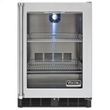 """24"""" Undercounter Refrigerator, Clear Glass, Right Hinge/Left Handle"""
