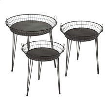 3 pc. set. Distressed Black Round Basket Side Table.