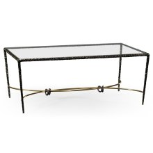 Hammered Anitque Black Brass Rectangular Coffee Table