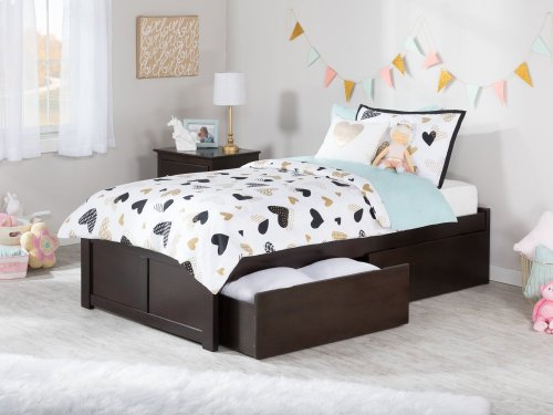 Concord Twin XL Flat Panel Foot Board with 2 Urban Bed Drawers Espresso