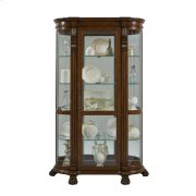 Lighted Curved Front 4 Shelf Curio Cabinet in Maple Brown Product Image
