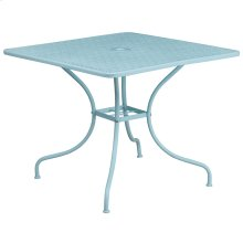 35.5'' Square Sky Blue Indoor-Outdoor Steel Patio Table