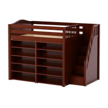 High Loft w/ Staircase & 2 x 5 Shelf Bookcases : Full : Chestnut : Curved