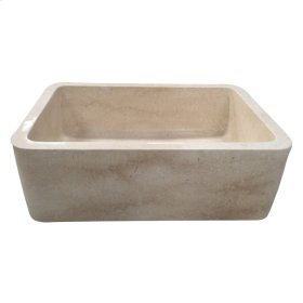 "Chandra Single Bowl Marble Farmer Sink - 30"" - Polished Egyptian Galala Marble"