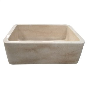 "Chandra Single Bowl Marble Farmer Sink - 30"" - Polished Egyptian Galala Marble Product Image"