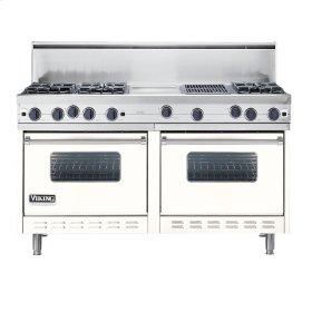 "Cotton White 60"" Open Burner Commercial Depth Range - VGRC (60"" wide, six burners 12"" wide griddle/simmer plate 12"" wide char-grill)"