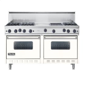 "Cotton White 60"" Open Burner Commercial Depth Range - VGRC (60"" wide, six burners 12"" wide griddle/simmer plate 12"" wide char-grill)"