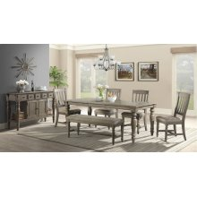 7 PIECE SET (TABLE AND 6 SIDE CHAIRS) *BENCH IS AVAILABLE TO ORDER*