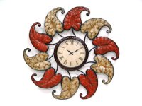 "Metal Clock with Leaves-22.25""""D Product Image"