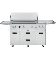 """GE Monogram® 54"""" Outdoor Cooking Center with Integrated Side Burners"""