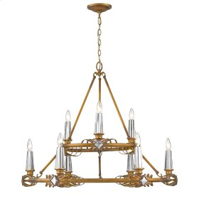 Signet 9 Light Chandelier in Royal Gold