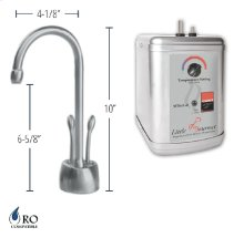 Hot & Cold Water Faucet with Contemporary Body & Double Tilt Levers & Little Gourmet® Premium Hot Water Tank - Brushed Stainless