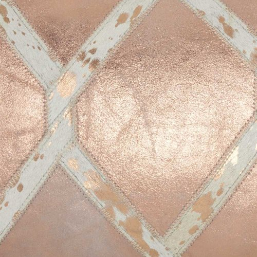 """Natural Leather Hide Pn887 Rose Gold 12"""" X 20"""" Throw Pillow"""