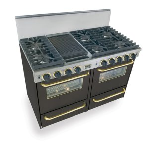"""Five Star48"""" All Gas, Convection, Sealed Burners, Black with Brass"""