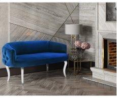 Adina Navy Velvet Loveseat with Silver Legs Product Image
