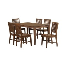 DLU-BR3660-C60-AM7PC  Rectangular Table Dining Set  6 Chairs  Amish Brown