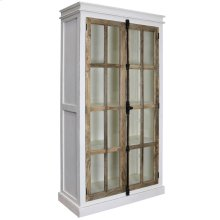 Tucker Curio Cabinet  Solid Mango Wood  Clear Tempered Glass Window Pane Door Panels With Classic
