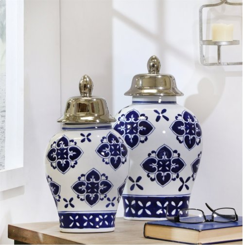 "White/blue/silver Temple Jar 14"""