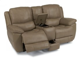Estella Leather Power Reclining Loveseat with Console