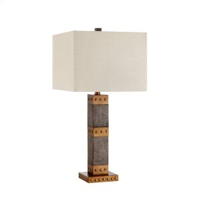 Tyler Table Lamp In Grey and Gold Accents With Cream Fabric Hardback Shade
