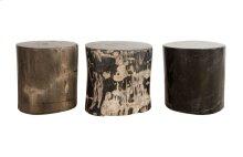 Petrified Wood Side Table Full Polish, Assorted