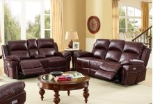 Warner Dual Recliner Sofa W/pwr Hr & Fr - Wine
