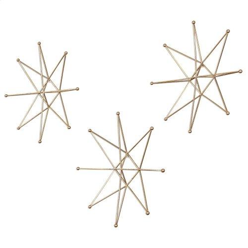 Gold Stars Metal Wall Decor, S/3