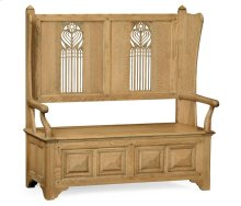 Natural Oak Gothic Style Settle for Storage