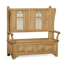 Natural Oak Gothic Style Settle with Storage