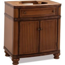 """30"""" vanity with walnut finish and simple bead board doors and curved shape"""