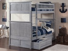 Nantucket Bunk Bed Twin over Twin with Raised Panel Drawers in Driftwood Grey