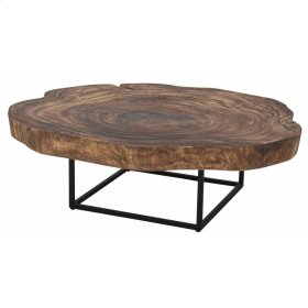 Trembesi Coffee Table Black Iron Legs, Natural