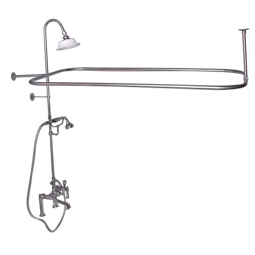Rectangular Shower Unit - Metal Lever 2 Handles - Polished Brass