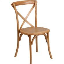 Stackable Oak Wood Cross Back Chair