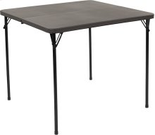 34'' Square Bi-Fold Dark Gray Plastic Folding Table with Carrying Handle