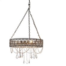 Greywash Hanging Filigree 3-Light Chandelier. 25W Max. Plug-in with Hard Wire Kit Included.