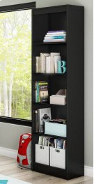 5-Shelf Narrow Bookcase - Pure Black Product Image