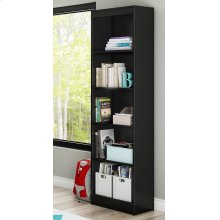 5-Shelf Narrow Bookcase - Pure Black