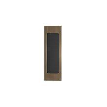 Rectangle Flush Pull Recess Leather In Black Tea And Fine Antique Brass