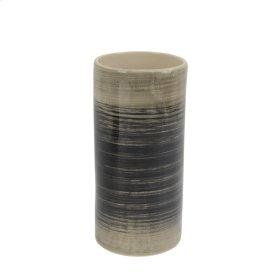 """Ceramic Vase 9.5"""", Black/beige"""
