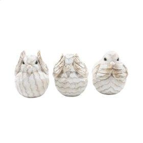 "S/3 Resin Decorative Birds 6"",cream"