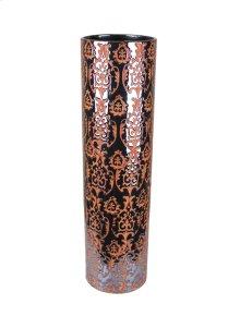 Decorative Ceramic Vase, Gun Metal/orange