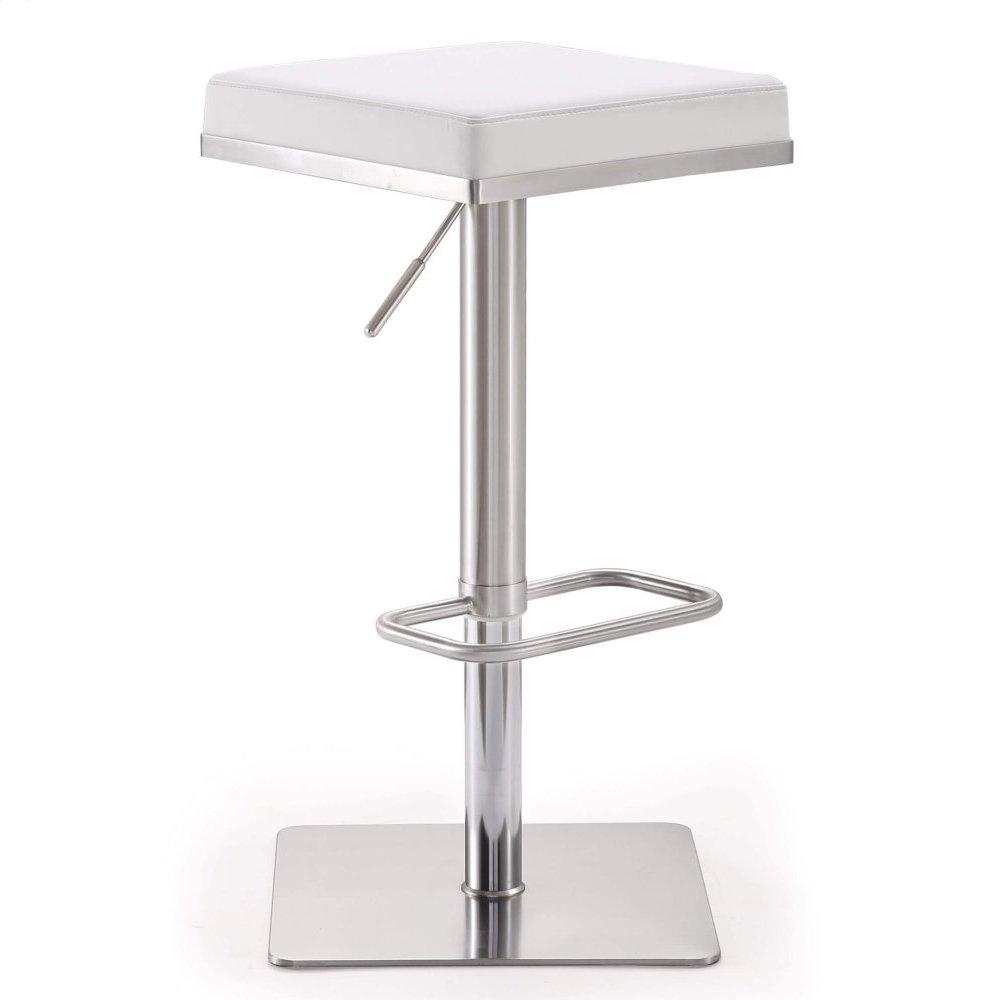 Bari White Stainless Steel Adjustable Barstool